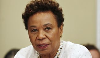 House Budget Committee member Rep. Barbara Lee, D-Calif. questions Budget Director Mick Mulvaney on Capitol Hill in Washington, Wednesday, May 24, 2017, during the committee's hearing on President Donald Trump's fiscal 2018 federal budget. (AP Photo/Jacquelyn Martin)