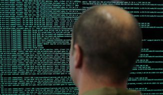 A solider watches code lines on his computer at the French Defense ministry stand during the International Cybersecurity forum in Lille, northern France, Tuesday Jan. 23, 2018.  (AP Photo/Michel Spingler) **FILE**