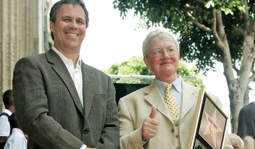 "Former ""At the Movies"" co-host Richard Roeper (left) and founder Roger Ebert are seen in Los Angeles in 2005, when Mr. Ebert was honored with a star on the Hollywood Walk of Fame. (Associated Press)"