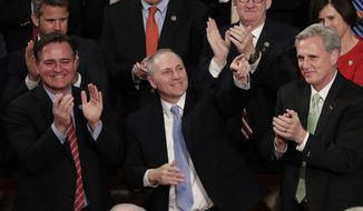 Rep. Steve Scalise, R-La., acknowledges President Donald Trump's introduction during the State of the Union address to a joint session of Congress on Capitol Hill in Washington, Tuesday, Jan. 30, 2018. (AP Photo/J. Scott Applewhite) ** FILE **