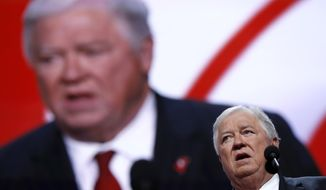 FILE - In a July 18, 2016 file photo, former Mississippi Gov. Haley Barbour speaks during first day of the Republican National Convention in Cleveland. Barbour says he will pay a fine after being arrested with a loaded handgun in his briefcase as he went through an airport security checkpoint on Jan. 2, 2018, at at Jackson-Medgar Wiley Evers International Airport in Jackson, Miss. (AP Photo/Carolyn Kaster, File)