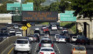 "FILE - In this Jan. 13, 2018, file photo provided by Civil Beat, cars drive past a highway sign that says ""MISSILE ALERT ERROR THERE IS NO THREAT"" on the H-1 Freeway in Honolulu. A Hawaii employee who mistakenly sent an alert warning of an incoming ballistic missile earlier this month, creating a panic across the state, thought an actual attack was imminent, the Federal Communications Commission said Tuesday, Jan. 30, 2018. (Cory Lum/Civil Beat via AP, File)"