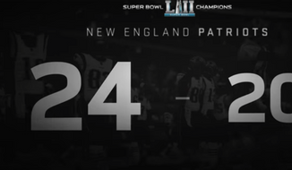 Screen capture from an EA Sports promotional video for the Madden NFL video game, predicting a 24-20 Patriots victory over the Philadelphia Eagles in Super Bowl LII. (EA Sporrts/YouTube)