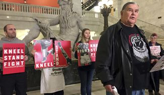 In this Friday, Jan. 26, 2018, photo, Clyde Bellecourt, co-founder or the American Indian Movement, speaks on  at Minneapolis City Hall about activists' plans for protests during the Super Bowl.  Minnesota activists are using the Super Bowl spectacle to speak out against police brutality, racism, corporate greed and other issues.(AP Photo/Amy Forliti)