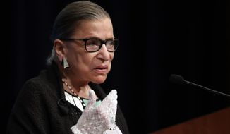 FILE - This Sept. 20, 2017 file photo shows U.S. Supreme Court Justice Ruth Bader Ginsburg speaking at the Georgetown University Law Center campus in Washington. Ginsburg is skipping President Donald Trump's first State of the Union address while she travels to Rhode Island to speak to a group of law students. Ginsburg is scheduled to speak on Tuesday, Jan. 30, 2018 at Roger Williams University School of Law in Bristol. (AP Photo/Carolyn Kaster, file)