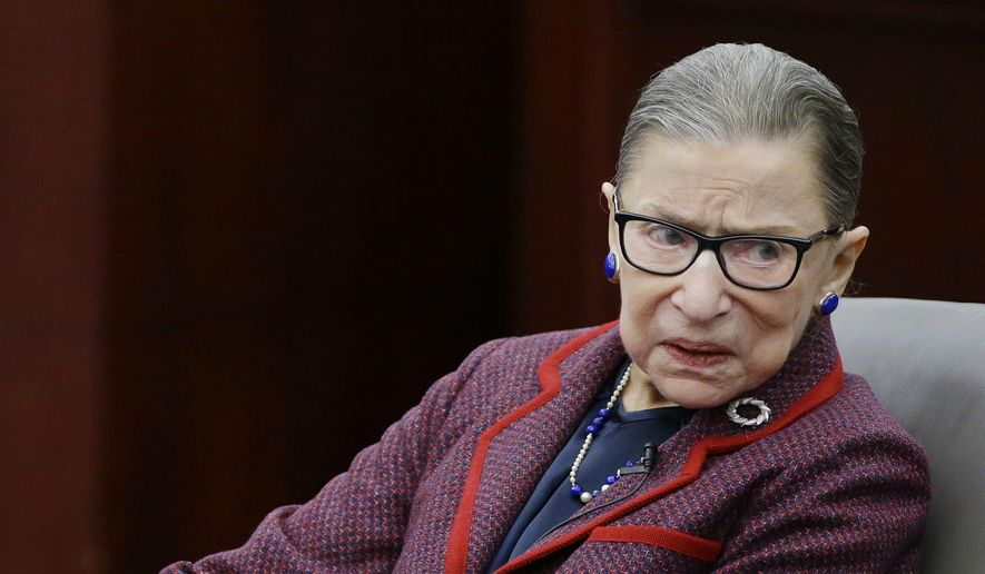 "Supreme Court Justice Ruth Bader Ginsburg participates in a ""fireside chat"" in the Bruce M. Selya Appellate Courtroom at the Roger William University Law School Tuesday, Jan. 30, 2018, in Bristol, R.I. (AP Photo/Stephan Savoia) ** FILE **"