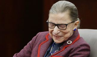 "Supreme Court Justice Ruth Bader Ginsburg reacts to the welcome she receives before participating in a ""fireside chat"" in the Bruce M. Selya Appellate Courtroom at the Roger William University Law School on Tuesday, Jan. 30, 2018, in Bristol, R.I. (AP Photo/Stephan Savoia)"