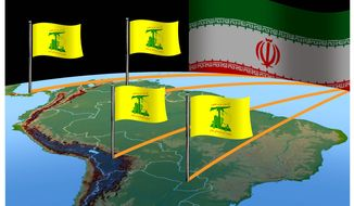 Illustration on Iranian/Hezbollah inroads in Latin America by Alexander Hunter/The Washington Times