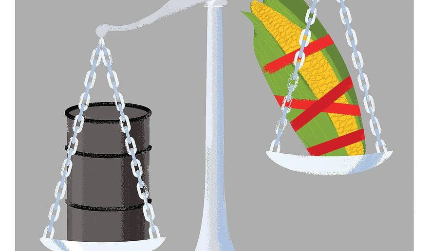 Illustration on the complex situation of bio fuels by Linas Garsys/The Washington Times