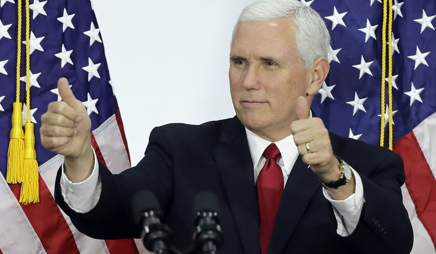 Vice President Mike Pence reacts after speaking at TKO Graphix, Thursday, Nov. 9, 2017, in Plainfield, Ind. Pence meet with local business leaders to discuss the need for tax reform. (AP Photo/Darron Cummings)
