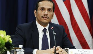 Qatar's Foreign Minister Sheikh Mohammed bin Abdulrahman Al Thani attends the US Qatar Strategic Dialogue at the State Department, Tuesday, Jan. 30, 2018, in Washington. (AP Photo/Jacquelyn Martin)