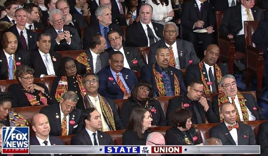 Members of the Congressional Black Caucus during the State of the Union address.