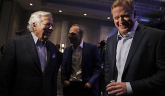 NFL Commissioner Roger Goodell, right, and New England Patriots owner Robert Kraft laugh before a news conference in advance of the Super Bowl 52 football game, Wednesday, Jan. 31, 2018, in Minneapolis. The Philadelphia Eagles play the New England Patriots on Sunday, Feb. 4, 2018. (AP Photo/Matt Slocum)