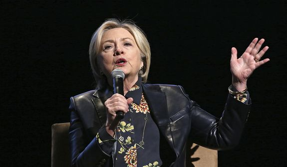 In this Dec. 15, 2017, file photo, former Secretary of State and presidential candidate Hillary Clinton speaks to the GirlsBuildLA Leadership Summit in Los Angeles. (AP Photo/Reed Saxon) ** FILE **