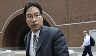 In this Sept. 19, 2017, file photo, Glenn Chin, supervisory pharmacist at the now-closed New England Compounding Center, leaves federal court in Boston. Chin, a Massachusetts pharmacist charged in a deadly 2012 meningitis outbreak, was cleared in October of second-degree murder charges, but convicted on dozens of other counts. He is scheduled to be sentenced on Wednesday, Jan. 31, 2018. (AP Photo/Steven Senne, file)