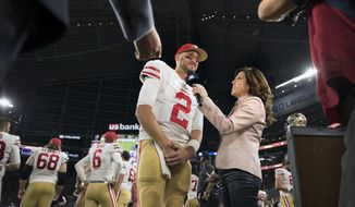 In an Aug. 28, 2017 photo, Michele Tafoya interviews San Francisco quarterback Brian Hoyer on the sidelines at US Bank Stadium during the Vikings49ers pre-season game in Minneapolis. Tafoya, sideline reporter for NBC Sunday Night Football, lives in Edina with her husband and two children.  (Brian Peterson/Star Tribune via AP)/Star Tribune via AP)