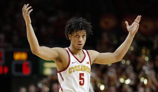 Iowa State guard Lindell Wigginton celebrates during the first half of the team's NCAA college basketball game against West Virginia, Wednesday, Jan. 31, 2018, in Ames, Iowa. (AP Photo/Charlie Neibergall)