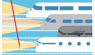 Illustration on the woes of Amtrak by Linas Garsys/The Washington Times