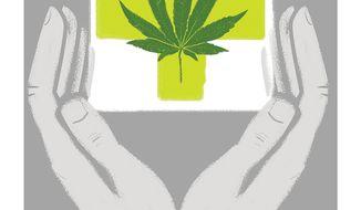 Illustration on marijuana federalism by Linas Garsys/The Washington Times