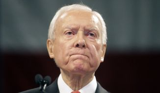 Sen. Orrin Hatch, Utah Republican, speaks during the Utah Republican Party 2016 nominating convention in Salt Lake City on April 23, 2016. (Associated Press) **FILE**