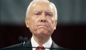 Sen. Orrin Hatch, R-Utah, speaks during the Utah Republican Party 2016 nominating convention Saturday, April 23, 2016, in Salt Lake City. Thousands of Utah Republicans and Democrats will gather Saturday at party conventions in Salt Lake City to vote for candidates for Congress, governor and other offices. (AP Photo/Rick Bowmer)
