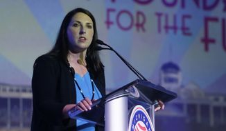 Michigan Republican Party Chairman Ronna Romney McDaniel addresses attendees during the 2016 Mackinac Republican Leadership Conference, Friday, Sept. 18, 2015, in Mackinac Island, Mich. (AP Photo/Carlos Osorio)