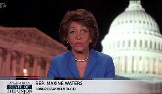 "Rep. Maxine Waters' rebuttal to President Trump's first State of the Union address called the president a ""terrible role model"" who deserves a parental advisory every time he appears on television. (BET)"