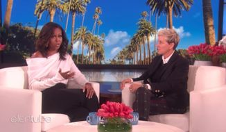 "Former first lady Michelle Obama said Americans should ""lead with hope"" after daytime talk show host Ellen DeGeneres said she was ""frightened"" by the direction President Trump had taken the country. (YouTube/@TheEllenShow)"