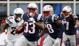 FILE- In this Oct. 29, 2017, file photo, New England Patriots running back Dion Lewis (33) returns the opening kickoff in the second half of an NFL football game against the Los Angeles Chargers in Foxborough, Mass. The Patriots and the Philadelphia Eagles are set to meet in Super Bowl 52 on Sunday, Feb. 4, 2018, in Minneapolis. (AP Photo/Michael Dwyer, File) **FILE**