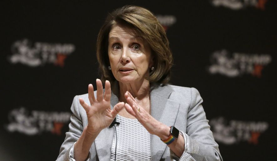 House Minority Leader Nancy Pelosi of Calif., speaks during a town hall-style meeting, Thursday, Feb. 1, 2018, at the Cambridge Public Library, in Cambridge, Mass. (AP Photo/Steven Senne) ** FILE **
