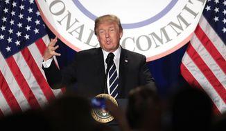 President Donald Trump speaks at the Republican National Committee (RNC) winter meeting in Washington, Thursday, Feb. 1, 2018. (AP Photo/Manuel Balce Ceneta)