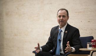 Rep. Adam Schiff, D- Calif., ranking member of the House Intelligence Committee, speaks at the University of Pennsylvania in Philadelphia, Thursday, Feb. 1, 2018. (AP Photo/Matt Rourke)