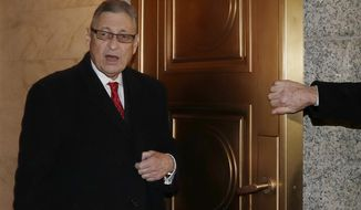 Former New York State Assembly Speaker Sheldon Silver leaves U.S. District Court, Thursday, Feb. 1, 2018 in New York. Silver attended a pretrial hearing in federal court to discuss his retrial. A federal appeals court in July, 2017 overturned Silver's 2015 corruption conviction. Silver had been convicted on charges that he had obtained nearly $4 million in illicit payments in return for taking a series of official actions that benefited others. (AP Photo/Kathy Willens)
