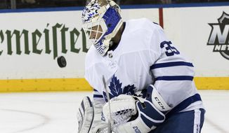Toronto Maple Leafs goaltender Curtis McElhinney defends the net during the second period of an NHL hockey game against the New York Rangers, Thursday, Feb. 1, 2018, at Madison Square Garden in New York. (AP Photo/Mary Altaffer)