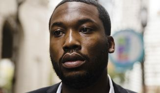 This Nov. 6, 2017, file photo shows Rapper Meek Mill arriving at the criminal justice center in Philadelphia.(AP Photo/Matt Rourke, File)