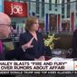 """""""Fire and Fury"""" author Michael Wolff fired back in a Thursday morning tweetstorm after MSNBC host Mika Brzezinski abruptly kicked him off set for denying that he smeared U.N. Ambassador Nikki Haley as having an affair with President Trump. (MSNBC)"""