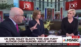 """Fire and Fury"" author Michael Wolff fired back in a Thursday morning tweetstorm after MSNBC host Mika Brzezinski abruptly kicked him off set for denying that he smeared U.N. Ambassador Nikki Haley as having an affair with President Trump. (MSNBC)"