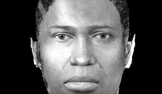 This undated image provided by the Tinley Park Police Department shows an image a suspect in a shooting that left five women dead at a Lane Bryant clothing store on Feb. 2, 2008, in Tinley Park, Ill. The new image released Thursday, Feb. 1, 2018, prepared by Michigan State Police, is an enhanced version of the original sketch made in 2008 from an eyewitness account and utilizes the latest in facial identification technology to provide a more life-like representation of the suspect. (Tinley Park Police Department via AP)