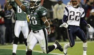 FILE - In this Feb. 6, 2005, file photo, Philadelphia Eagles running back Brian Westbrook celebrates his 10-yard touchdown reception in the third quarter against the New England Patriots during Super Bowl XXXIX at Alltel Stadium in Jacksonville, Fla. The two teams meet in a rematch in Super Bowl 52 on Sunday, Feb. 4, 2018, in Minneapolis. (AP Photo/David J. Phillip, File)