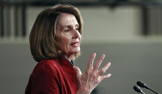 In this Jan. 11, 2018, file photo, House Minority Leader Nancy Pelosi of Calif., gestures as she speaks during a news conference on Capitol Hill in Washington. (AP Photo/Pablo Martinez Monsivais, File)