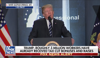 President Trump addresses GOP members of Congress at their annual retreat in White Sulphur Springs, W.Va., on Feb. 1, 2018, in this screen capture from live Fox News coverage. (Fox News)