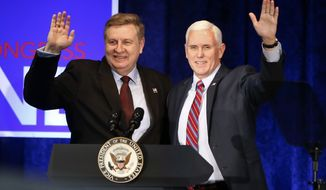 Vice President Mike Pence, right, stands with State Rep. Rick Saccone after a fundraising event for Saccone, a candidate U.S Congress, Friday, Feb. 2, 2018, in Bethel Park, Pa. (AP Photo/Keith Srakocic)
