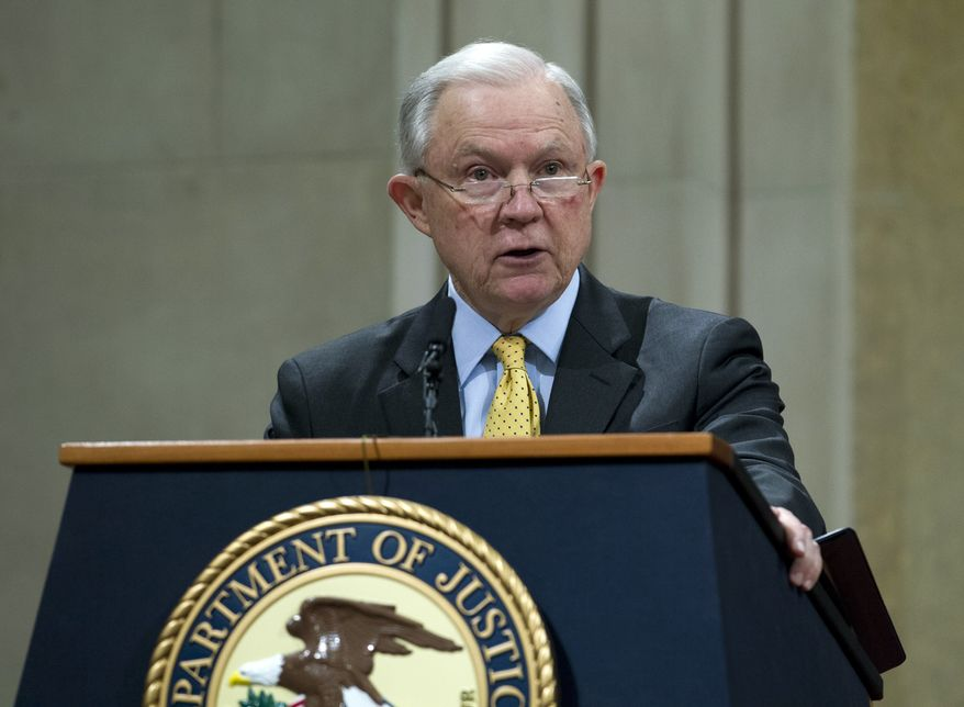 Attorney General Jeff Sessions speaks during the opening of the summit on Efforts to Combat Human Trafficking at Department of Justice in Washington, Friday, Feb. 2, 2018. President Donald Trump, dogged by an unrelenting investigation into his campaign's ties to Russia, lashes out at the FBI and Justice Department as politically biased ahead of the expected release of a classified Republican memo criticizing FBI surveillance tactics. (AP Photo/Jose Luis Magana)