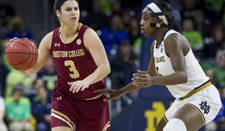 FILE - In this Jan. 14, 2018, file photo, Boston College's Andie Anastos (3) drives downcourt next to Notre Dame's Jackie Young (5) during the second half of an NCAA college basketball game in South Bend, Ind. Anastos had run out of eligibility to play hockey at the school and her academic counselor suggested she play basketball--a sport she had excelled at in high school. Three months into the season, Anastos is the team's starting point guard, leads the team in assists and is one of the most efficient scorers. (AP Photo/Robert Franklin, File)