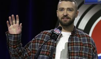 FILE - In this Thursday, Feb. 1, 2018 file photo, Justin Timberlake answers questions during a news conference for the NFL Super Bowl 52 football game halftime show in Minneapolis. Justin Timberlake is a man lost in the woods on disappointing new album. (AP Photo/Morry Gash, File)