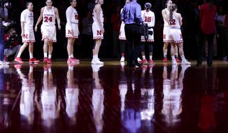 Nebraska players are introduced before an NCAA college basketball game against Illinois in Lincoln, Neb., Thursday, Feb. 1, 2018. Nebraska has won five straight and eight of its last nine, after a 62-47 victory over Illinois. (AP Photo/Nati Harnik)