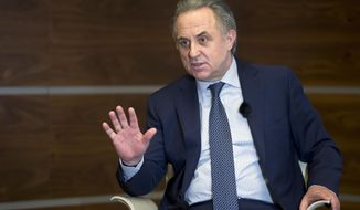 "Russian Deputy Prime Minister Vitaly Mutko speaks during an interview with the Associated Press in Moscow in Moscow, Russia, Friday, Feb. 2, 2018. Mutko says Russian athletes whose doping bans were lifted deserve to be treated as ""clean and honest"" at the Pyeongchang Olympics. (AP Photo/Pavel Golovkin)"