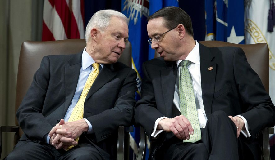 If President Trump fires Attorney General Jeff Sessions (left), he likely also would oust Deputy Attorney General Rod Rosenstein. (Associated Press/File)