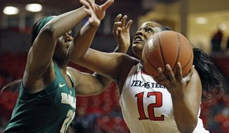 Texas Tech's Jada Terry (21) shoots the ball around Baylor's Kalani Brown (12) during the first half of an NCAA college basketball game Saturday, Feb. 3, 2018, in Lubbock, Texas. (AP Photo/Brad Tollefson)