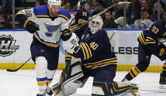 St. Louis Blues Kyle Brodziak (28) skates past Buffalo Sabres goalie Robin Lehner (40) during the second period of an NHL hockey game, Saturday, Feb. 3, 2018, in Buffalo, N.Y. (AP Photo/Jeffrey T. Barnes)